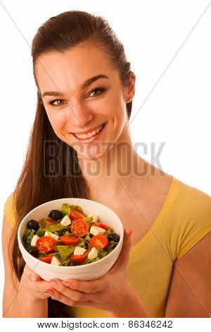 Beautiful Asian Caucasian Woman With A White Bowl Of Mixed Salad Isolated Over White Background