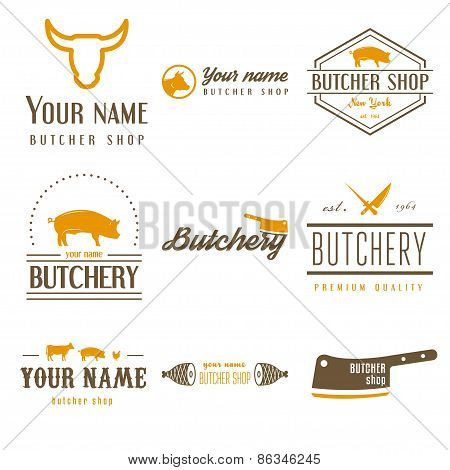 Set of labels templates and logo of butchery meat shop and logotype elements