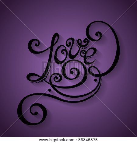 Vector Love Inscription, St. Valentine's Day Symbol. Hand Drawn Lettering