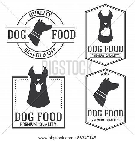 Vintage Dog Food Badges And Logotypes Set.