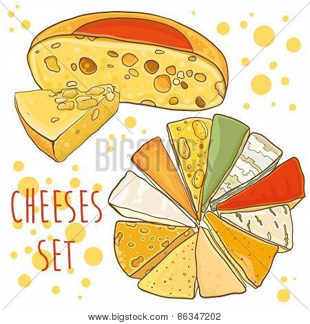 Vector Set With Cheeses. Cheese Collection.