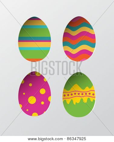 Digitally generated Four easter eggs vector