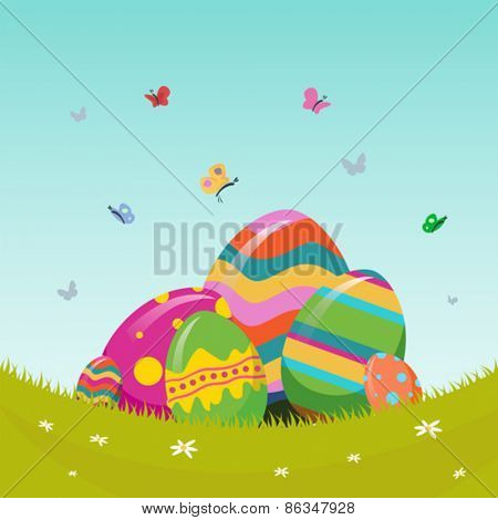 Digitally generated Easter vector with eggs in meadow