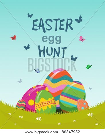 Digitally generated Easter egg hunt vector
