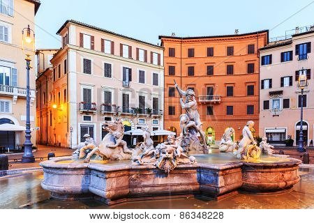 Fountain Of Neptune. Rome, Italy