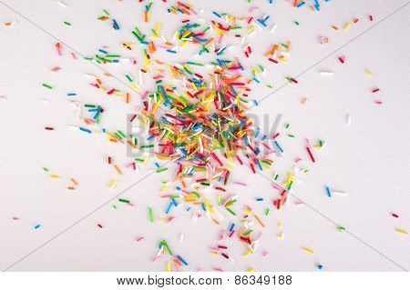 Mini Sweet Sprinkles   Isolated On White Background  With Sample Text