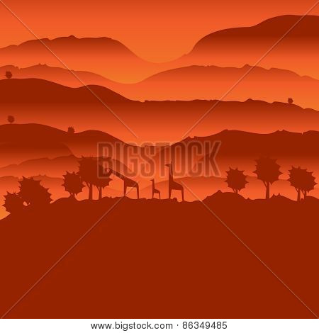 African landscape with animal silhouette