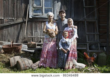 Vintage Styled Family Portrait With Some Hens