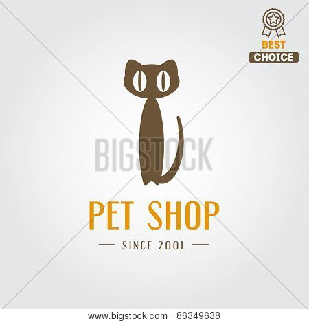 Logo, badge or label for pet shop or veterinary clinic