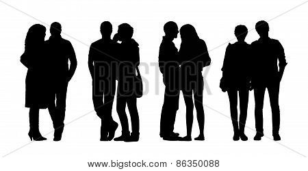 People Standing Outdoor Silhouettes Set 30