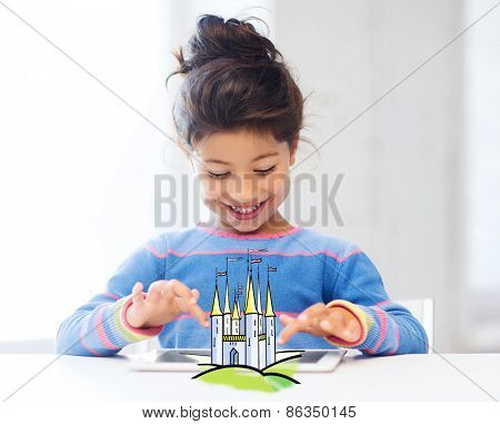 technology, childhood, entertainment, fairytale and imagination concept - fairytale castle and happy little girl playing with tablet pc computer at home