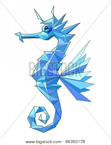 Sea horse. Low polygon linear vector illustration