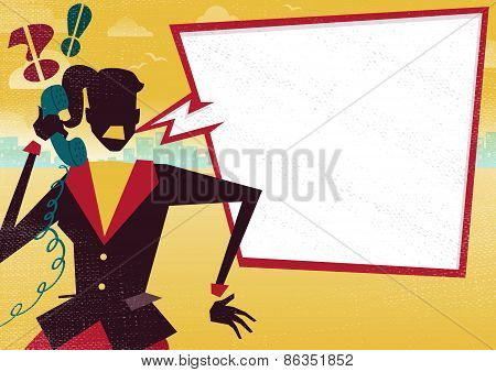 Businesswoman Is Angry On Telephone With Large Speech Bubble.