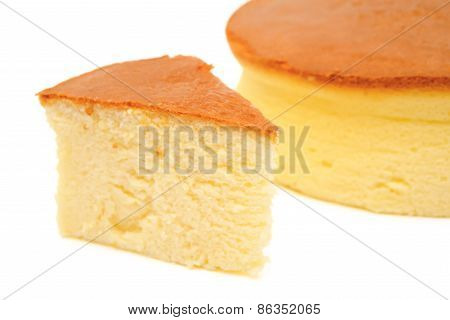 cheese cake on white with clipping path