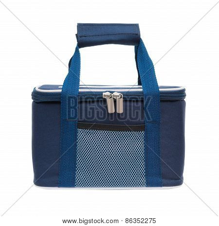 blue lunch pack carrier hanging up with clipping path