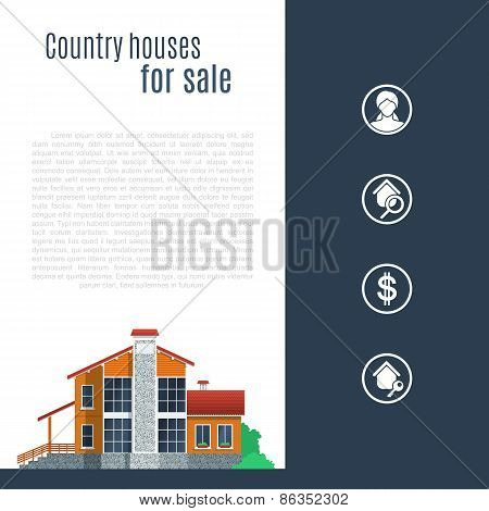 Orange Country House In Flat Style.