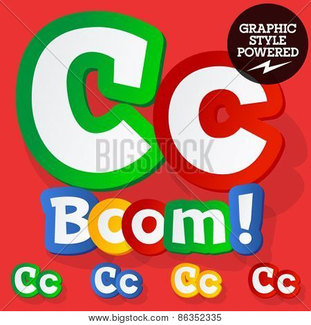 Vector set of bright colorful alphabet for children. Playful sticker font. Letter C