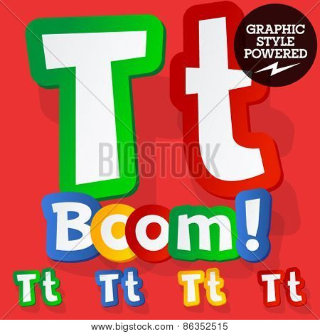 Vector set of bright colorful alphabet for children. Playful sticker font. Letter T
