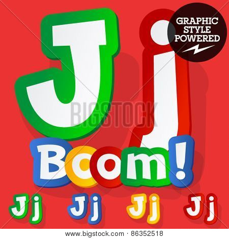 Vector set of bright colorful alphabet for children. Playful sticker font. Letter J