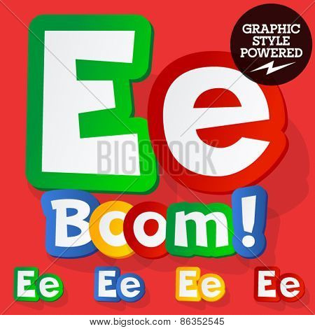 Vector set of bright colorful alphabet for children. Playful sticker font. Letter E