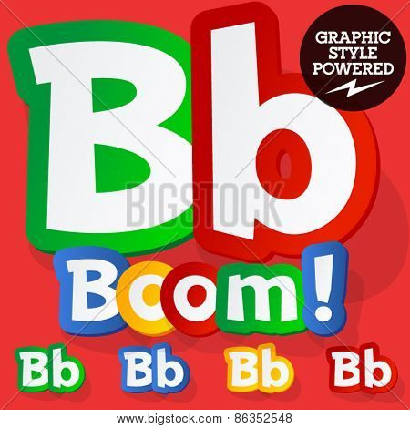 Vector set of bright colorful alphabet for children. Playful sticker font. Letter B