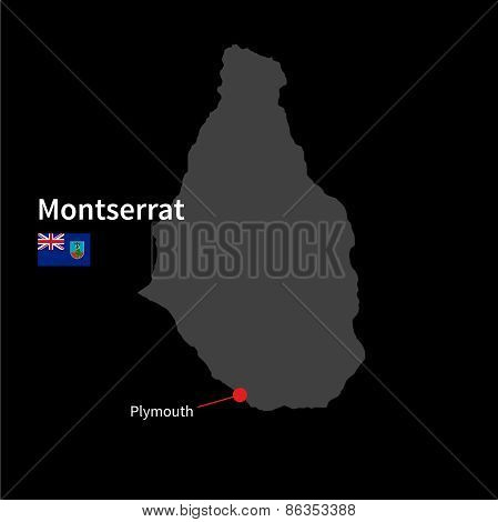 Detailed map of Montserrat and capital city Plymouth with flag on black background