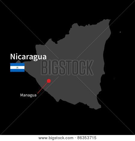 Detailed map of Nicaragua and capital city Managua with flag on black background