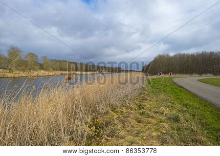 Road along a canal under a cloudy sky in spring