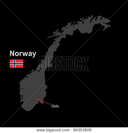Detailed map of Norway and capital city Oslo with flag on black background