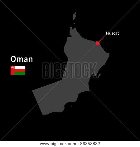 Detailed map of Oman and capital city Muscat with flag on black background