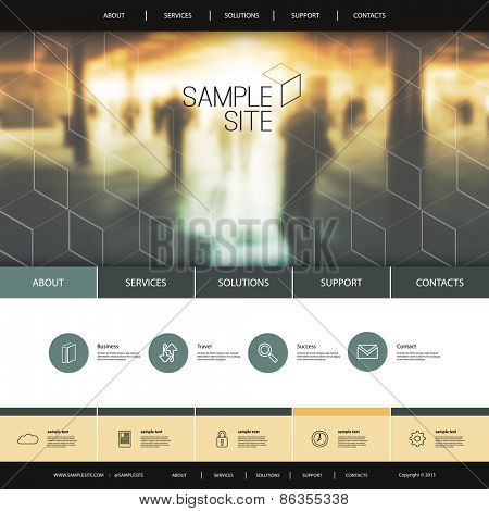 Website Design for Your Business with Metro Station Photo Background and Linear Icons