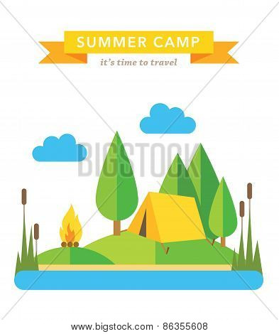 Camping flat vector background