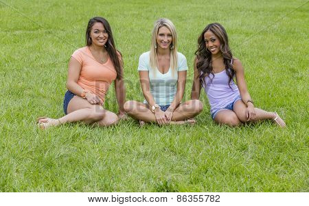 Three young women enjoying a day at the park
