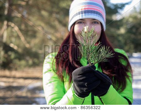young woman holding pine branch. Focused on hands
