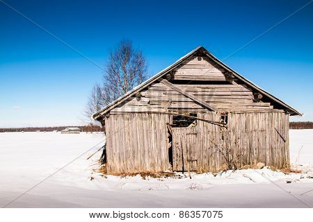 Old Barn House On The Fields