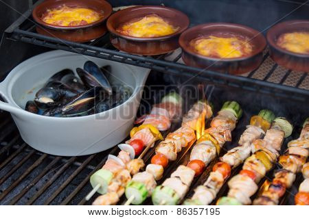 Delicious Seafood Outdoor Meal At The Bbq