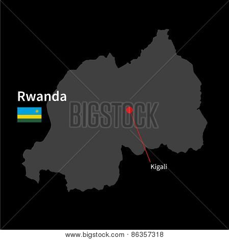 Detailed map of Rwanda and capital city Kigali with flag on black background