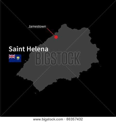 Detailed map of Saint Helena and capital city Jamestown with flag on black background