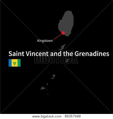 Detailed map of Saint Vincent and the Grenadines and capital city Kingstown with flag on black backg