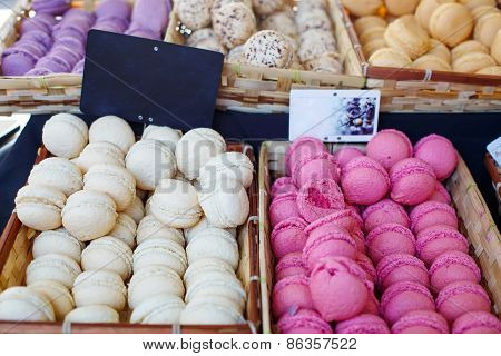White And Purple Macarons, Traditional Sweet Food In France