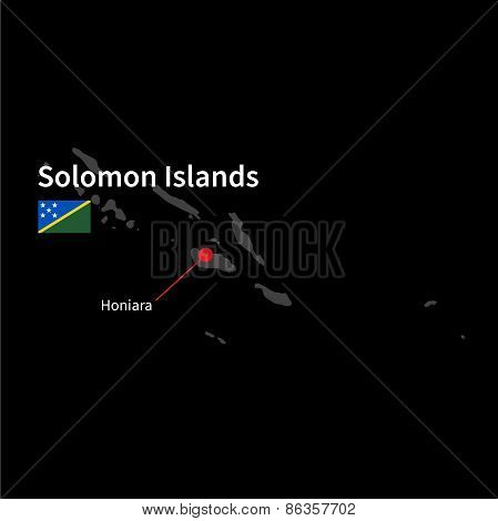 Detailed map of Solomon Islands and capital city Honiara with flag on black background