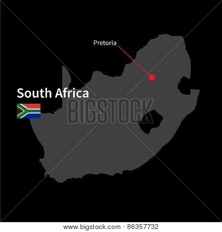 Detailed map of South Africa and capital city Pretoria with flag on black background