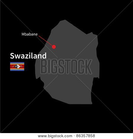 Detailed map of Swaziland and capital city Mbabane with flag on black background