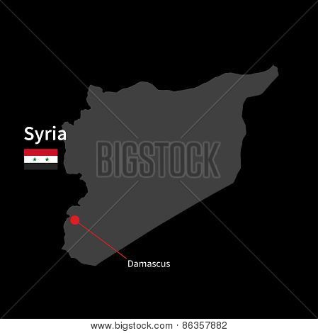 Detailed map of Syria and capital city Damascus with flag on black background