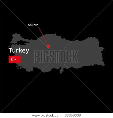 Detailed map of Turkey and capital city Ankara with flag on black background