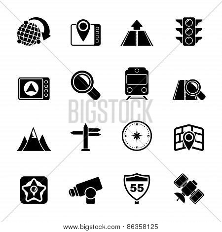 Silhouette Map, navigation and Location Icons