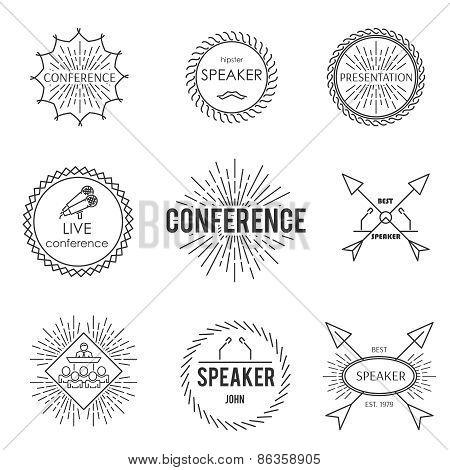 Set of outline emblem