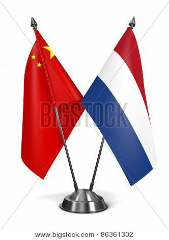 China and Netherlands - Miniature Flags.