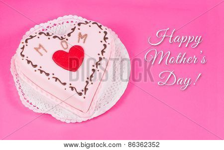 Heart shaped cake for mother's day with text