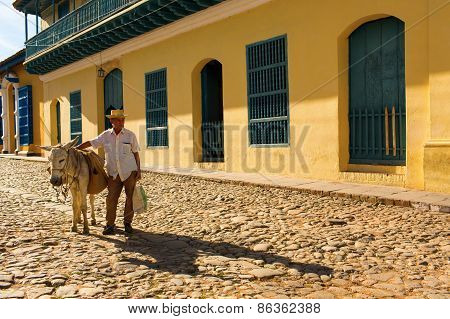 Trinidad - February 24: Streets Of Trinidad With Old Man On February 24, 2015 In Trinidad. Trinidad